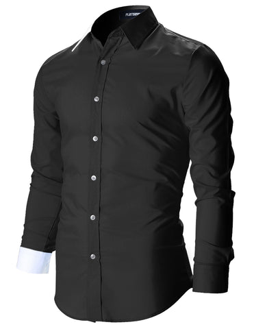 Mens Designer Slim Fit Color Block Dress Shirts (SH115)