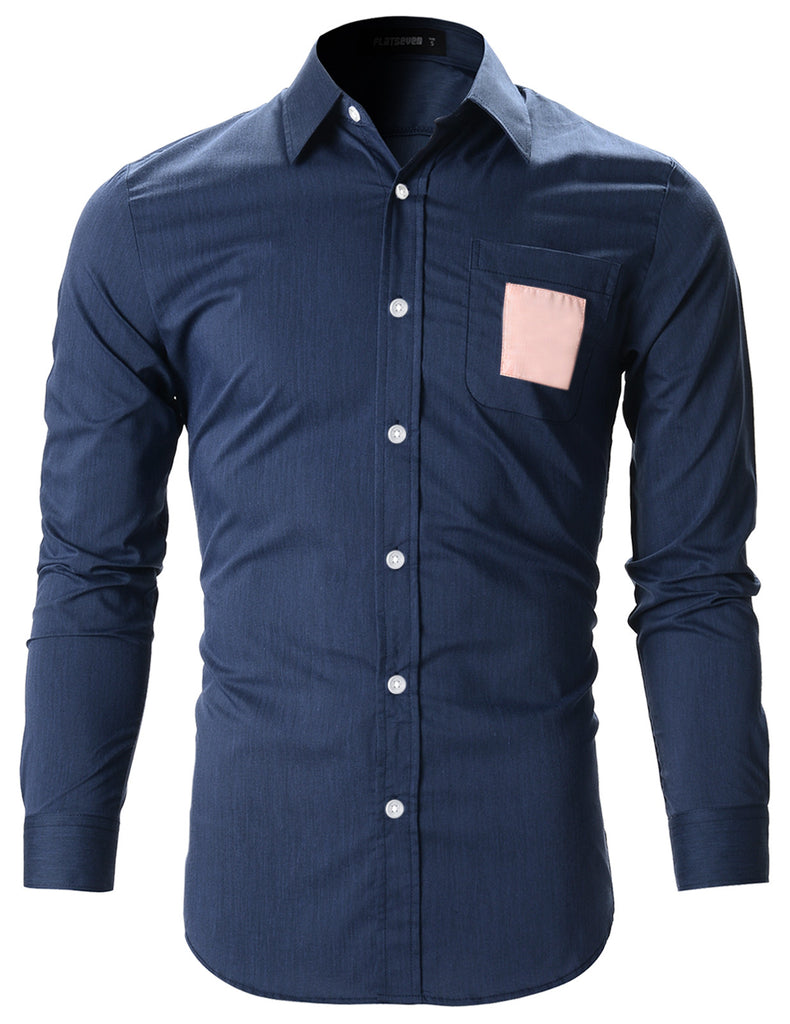Mens Slim Fit Square Patched Pocket Casual Dress Shirts (SH144)