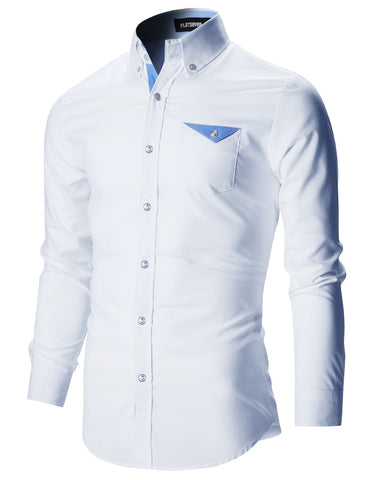 Mens Slim Fit Stylish Pocket Casual Dress Shirts (SH145)