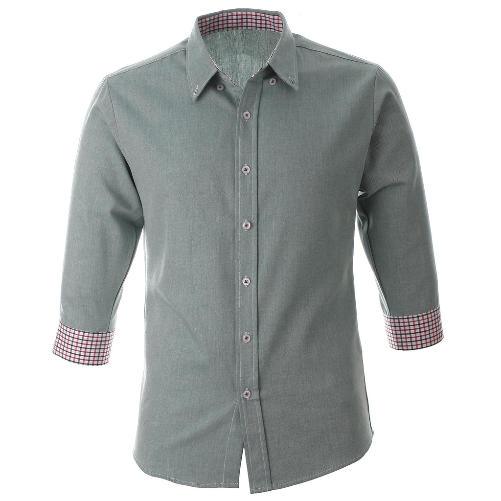 Mens Slim Fit 3/4 Sleeve Casual Dress Shirts (SH16X)