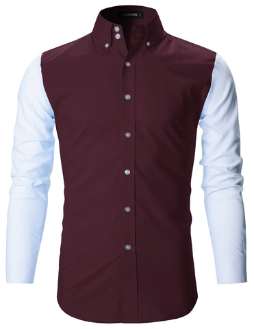 Mens Premium Slim Fit Contrast Sleeve Shirts (SH163)