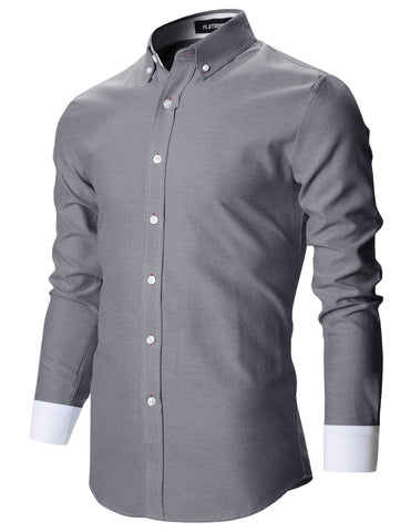 Mens Premium Slim Fit Casual Solid Stretch Shirts (SH165)