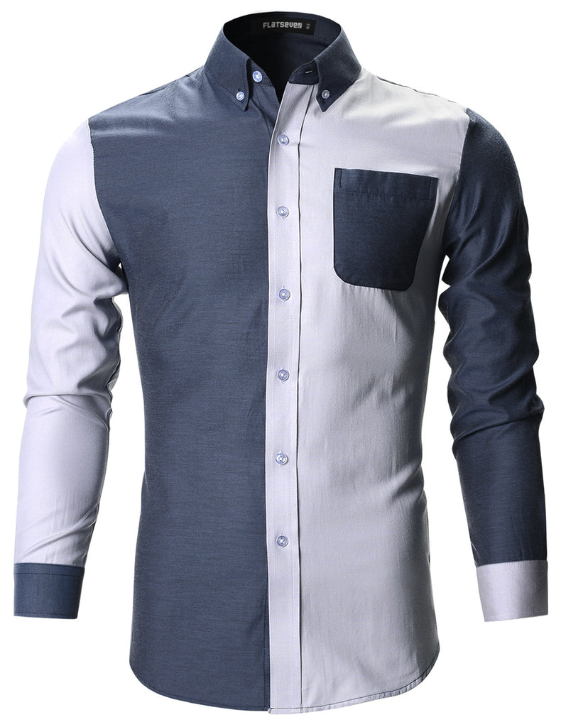 Mens Slim Fit Contrast Casual Shirts (SH174)