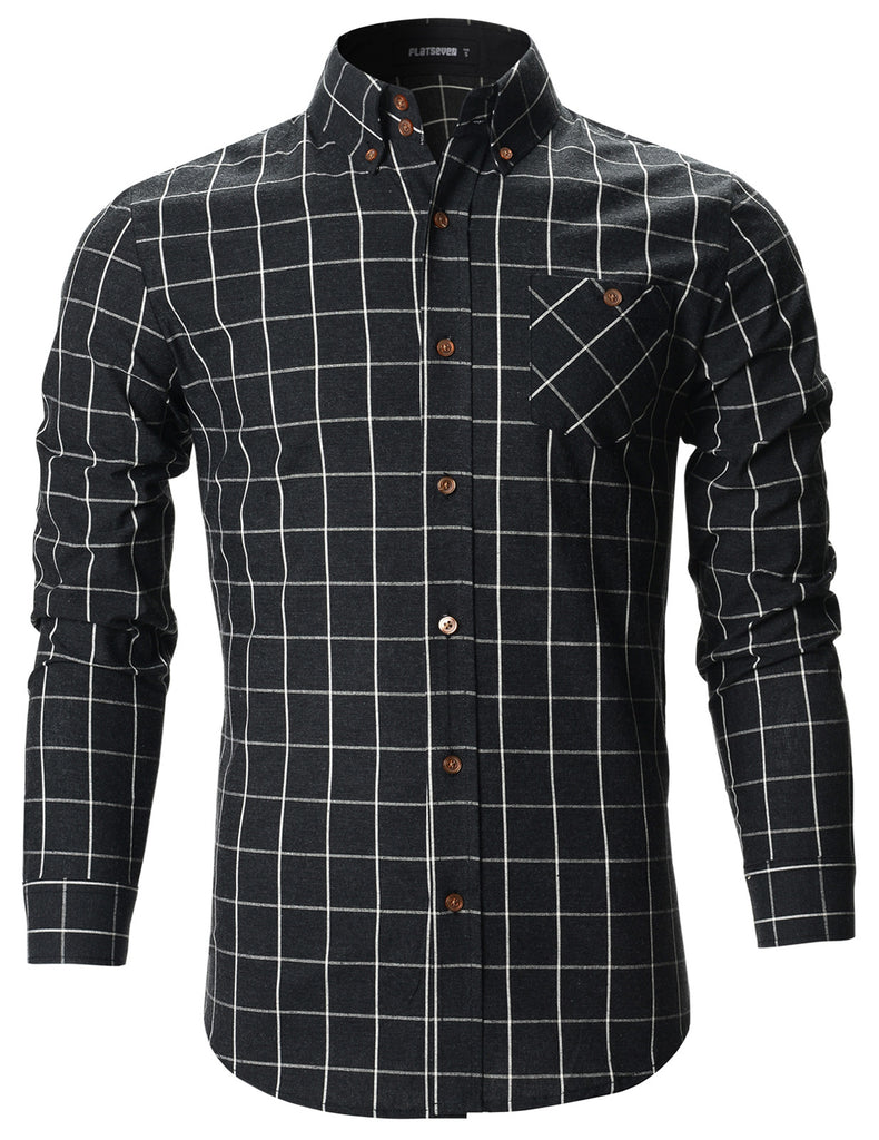 Mens Slim Fit Plaid Checker Casual Cotton Shirts (SH175)