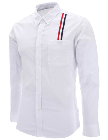 Mens Slim Fit Stripe Patched Casual Dress Shirts (SH177)