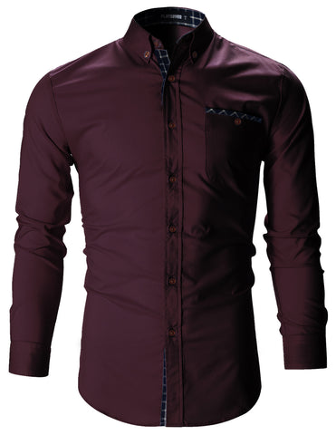 Mens Checker Pocket Stretch Casual Dress Shirts (SH179)