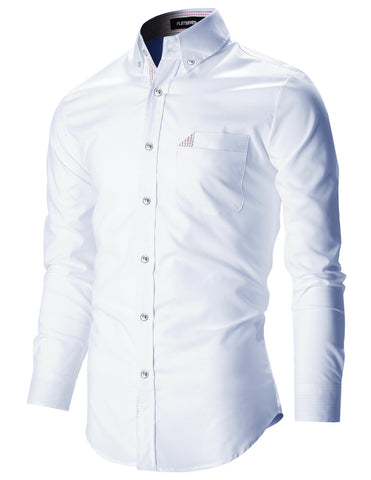 Mens Slim Fit Stretch Casual Dress Shirts (SH180)