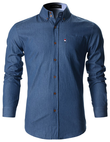 Mens Slim Fit Stripe Labeled Cotton Denim Shirts (SH181)