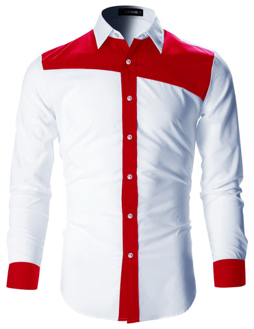 Mens Designer Slim Fit Color Block Shirt with Long Sleeve (SH194)