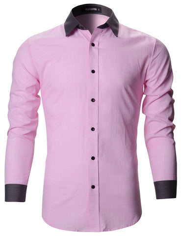Mens Designer Slim Fit Contrast Collar Dress Shirts (SH195)