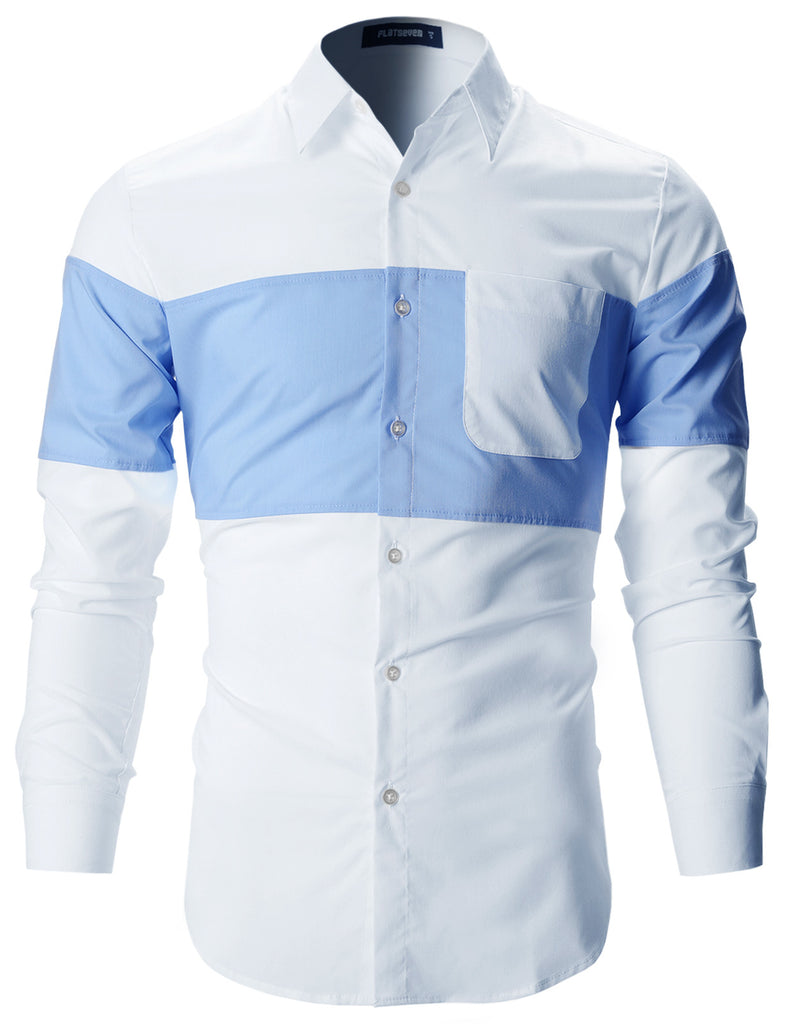 Mens Designer Slim Fit Contrast Two-Tone Long Sleeve Shirts (SH196 ... b1dc97d12