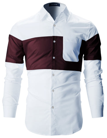 Mens Designer Slim Fit Contrast Two-Tone Long Sleeve Shirts (SH196)