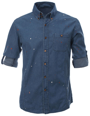 Mens Designer Slim Fit Hand Painting Denim Shirts (SH197)