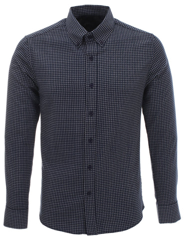 Mens Long Sleeve Fitted Dress Shirts Checked Plaid (SH214)