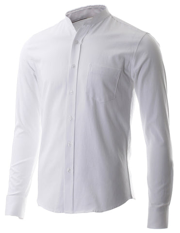 Men's Slim Fit Casual Mandarin Collar Long Sleeve Button Down Shirt (SH215)