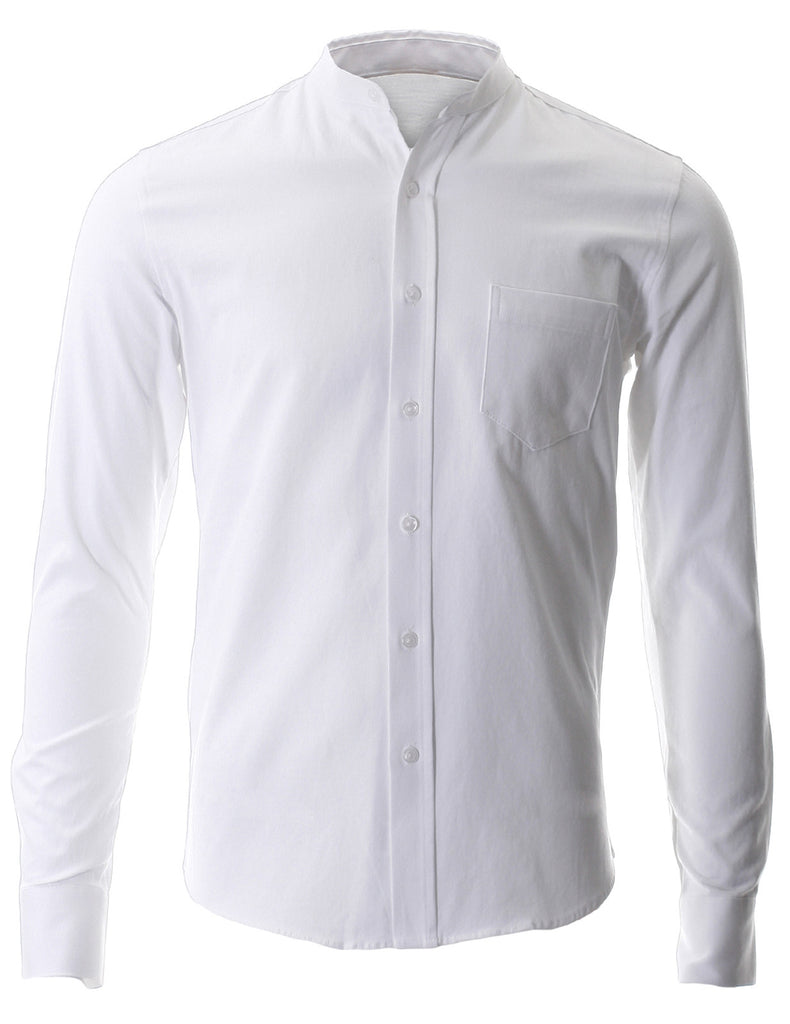 Men 39 S Slim Fit Casual Mandarin Collar Long Sleeve Button