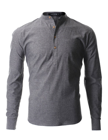 Men's Casual Mandarin Collar Popover Long Sleeve Henley Shirt (SH216)