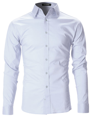 Mens Slim Fit Basic Dress Shirts Long Sleeve (SH400)