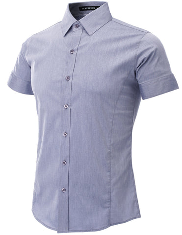Mens Slim Fit Basic Dress Shirts Short Sleeve (SH401)