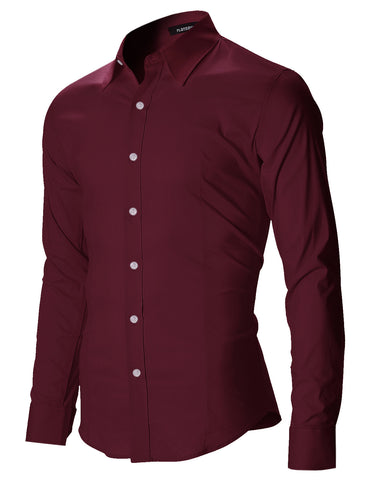 Mens Casual Button Up Shirts Cotton Slim Fit (SH402)