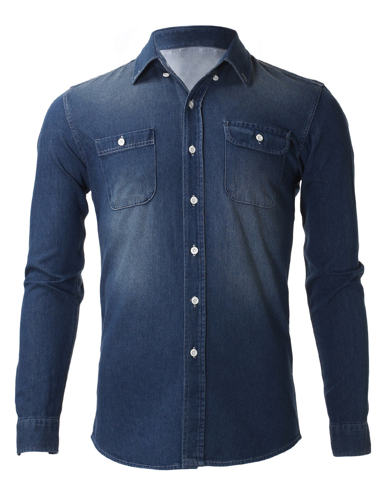 Men's Slim Fit Casual Denim Long Sleeve Shirts (SH421)