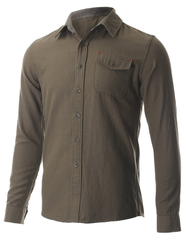 Men's Casual Oxford Button Down Single Pocket Shirts (SH423)