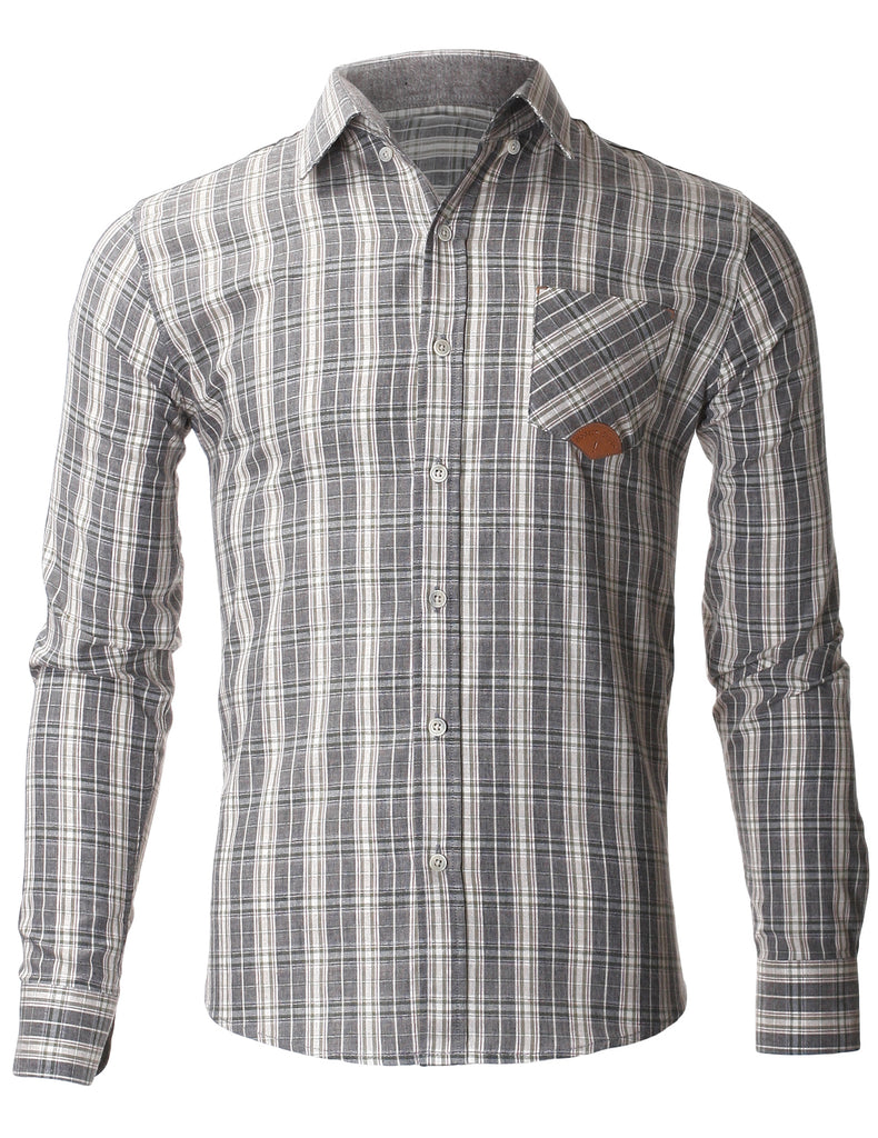 Mens Slim Fit Casual Multi Plaid Check Shirts With Pocket Point (SH424)