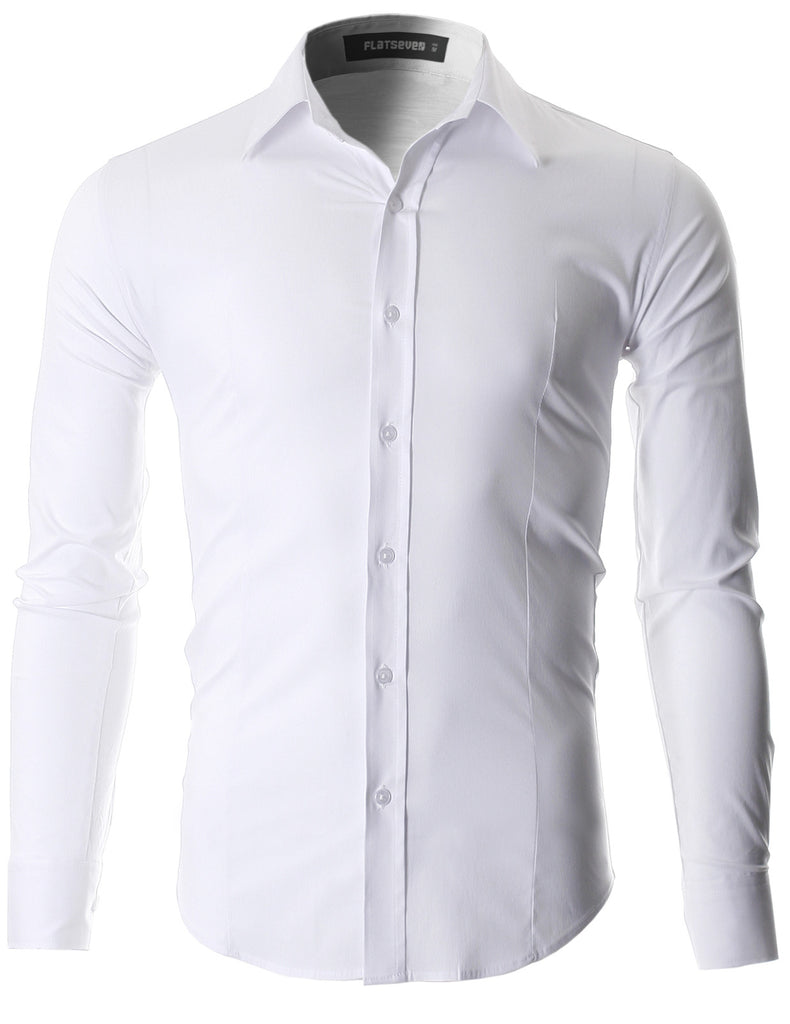 8ccf709b Men's Slim Fit Casual Button Down Dress Shirt Long Sleeve (SH600). White