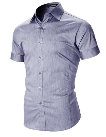 Mens Button Up Shirts Slim Fit Casual Short Sleeve (SH601)
