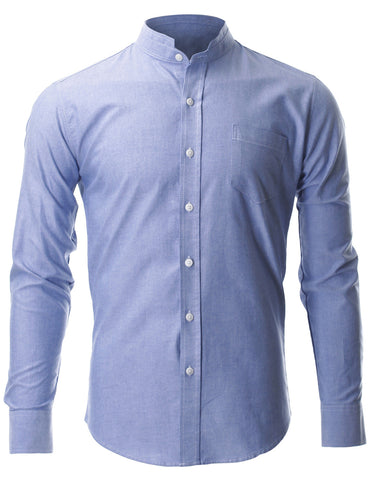 Men's Slim Fit Casual Mandarin Collar Shirt Long Sleeve (SH618)