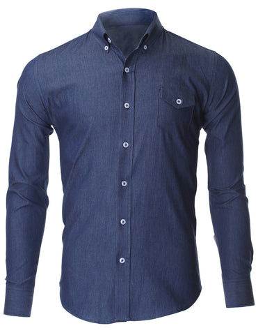 Men's Casual Slim Fit Button Down Chest Point Pocket Denim Shirts (SH621)