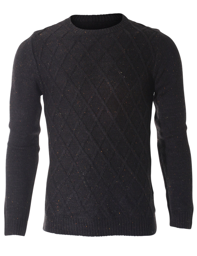 Men's Crewneck Waffle Cable Nep yarn Sweater (SW303)