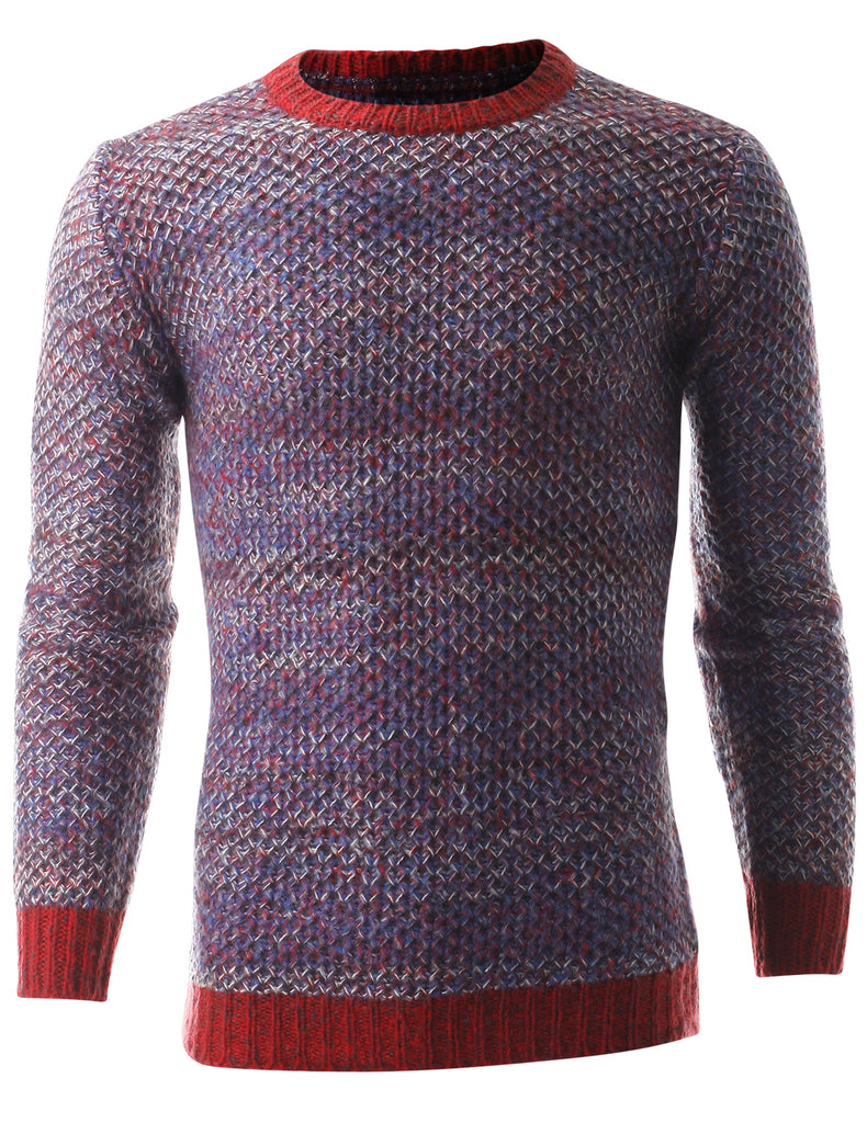 Men's Multicolor Crew Neck Pullover Sweater (SW304)