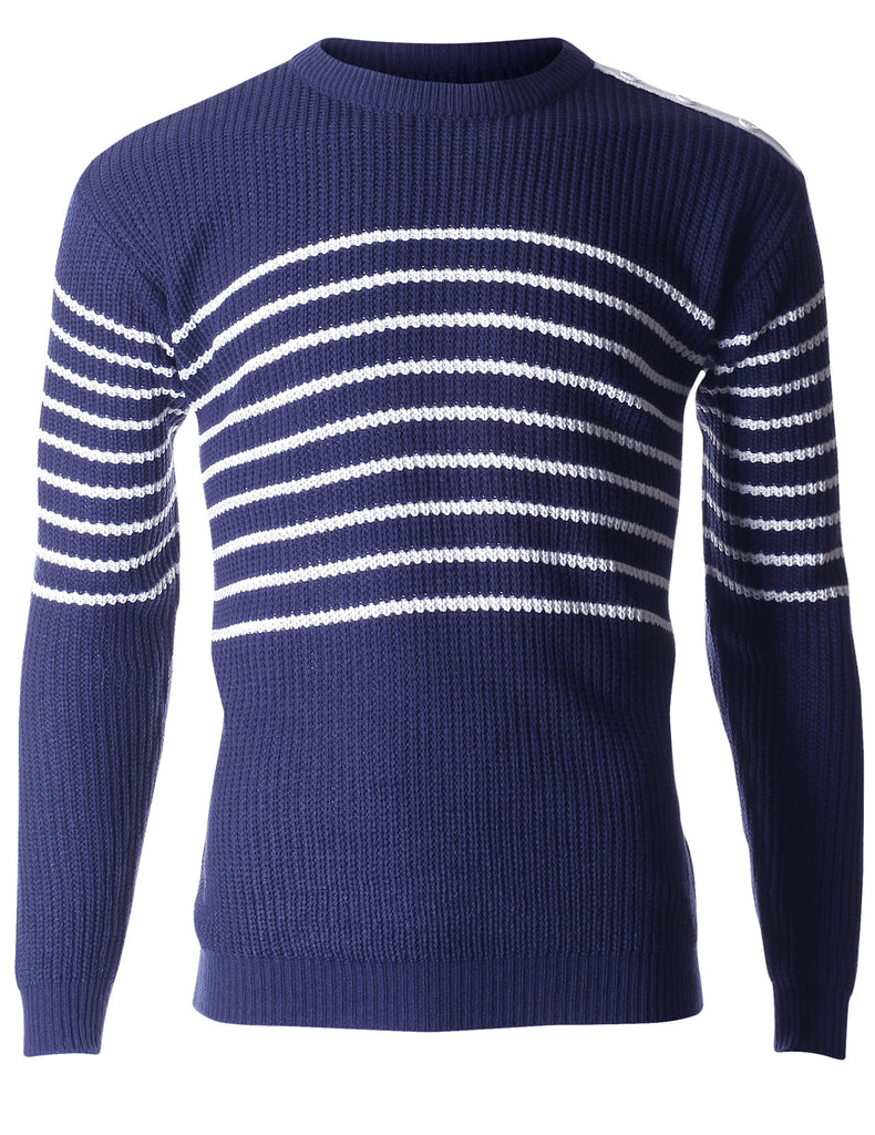 Men's Stripe Ribbed Cable Knit Sweater (SW401)