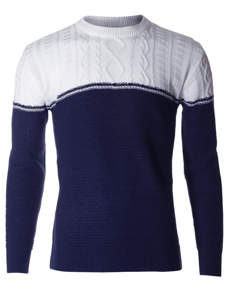 Men's Pullover Color Block Cable Knit Sweater (SW402)
