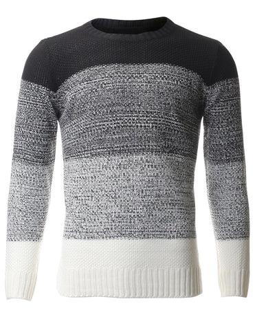 Men's Color Block Casual Pullover Crewneck Sweater (SW403)