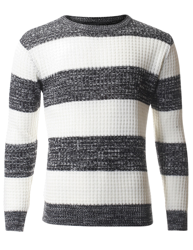 Men's Casual Color Block Pullover Crewneck Sweater (SW408)