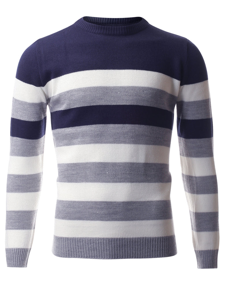 Men's Casual Stripe Knit Pullover Crew Neck Sweater (SW409)