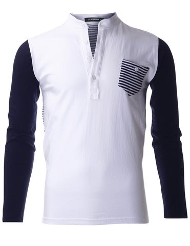 Mens Casual Henley Neck Color Block Sleeve T-shirt with Striped Pocket Point (THL3000)