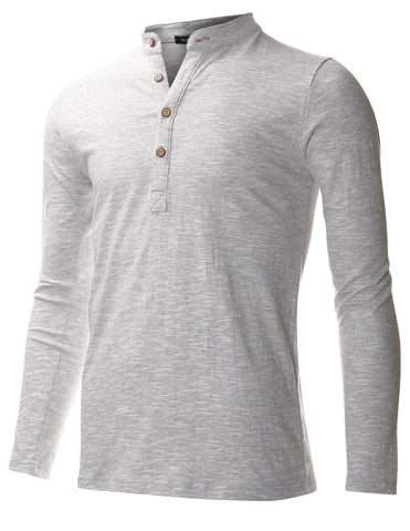 Men's Casual Long Sleeve Henley Shirts with Button (THL3001)