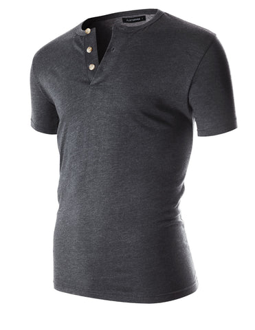 Men's Slim Fit Casual Short Sleeve Henley T Shirt (THS100)