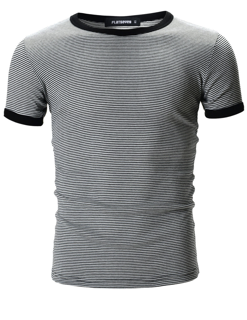 Mens Casual Small Striped Crew Neck Short Sleeve Tee Shirt (TR1001)