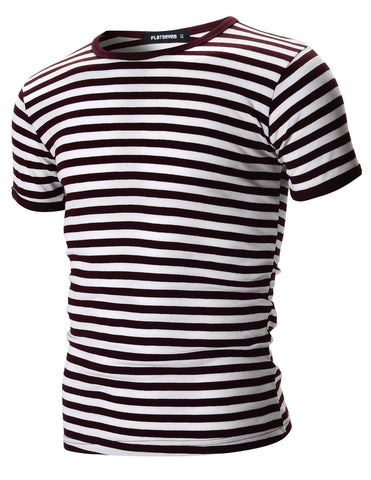 Mens Casual Wide Striped Crew Neck Short Sleeve Tee Shirt (TR1002)