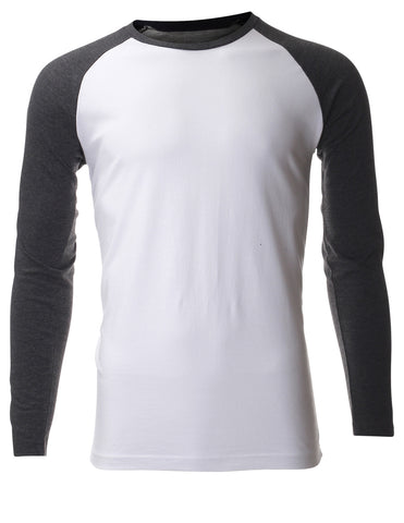 Men's Casual Long Sleeve Cotton Crewneck Baseball T-shirt (TR100)