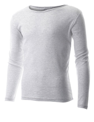 Mens Casual Small Striped Crewneck Long Sleeve Tee Shirt (TRL1001)