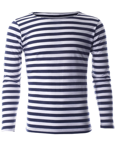 Men's Slim Fit Stripe Pattern Crewneck Long Sleeve Cotton T-Shirt (TRL1002)