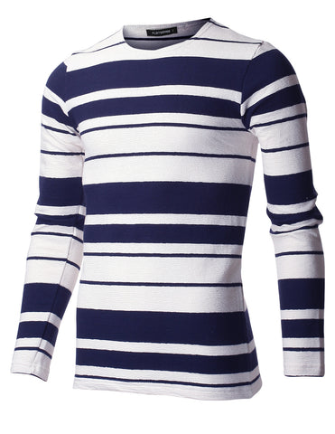Men's Slim Fit Striped Cotton Long Sleeve Crewneck T-shirt (TRL3000)