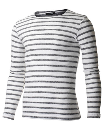 Men's Slim Fit Traditional Stripe Crewneck Tee Shirt with Long Sleeve (TRL3001)