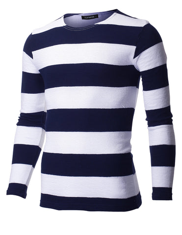 Mens Slim Fit Crew Neck Bar Stripe Tee Shirt with Long Sleeve (TRL3002)