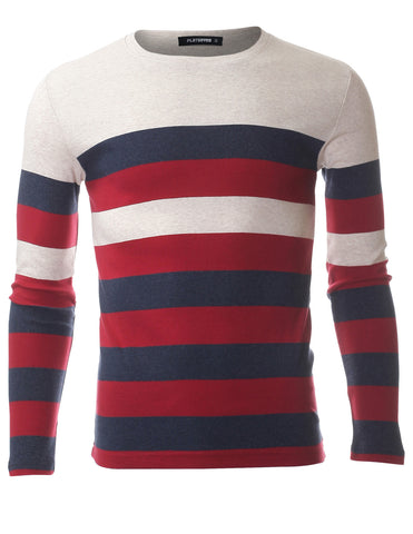 Men's Slim Fit Bold Striped Long Sleeve Cotton Crew Neck T-shirt (TRL3003)